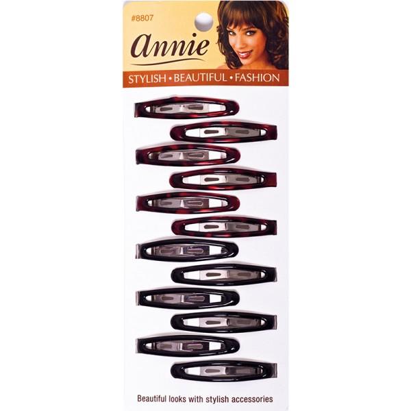 Annie Oval Snap Clips/ Haarspangen, Black, 12 Stück