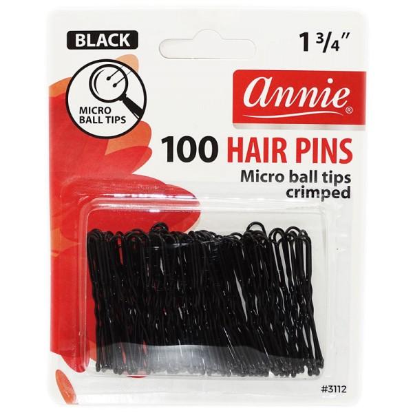Annie Hair Pins black Microball Tipped 100pcs