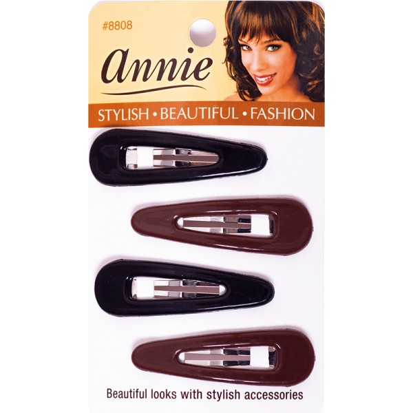 Annie Plastic Cover Snap Clips/Haarspangen, 5 cm,Black and Brown, 4 Stück