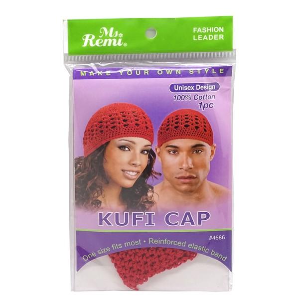 Ms.remi Kufi Cap Unisex Design 100% Cotton Red #4686
