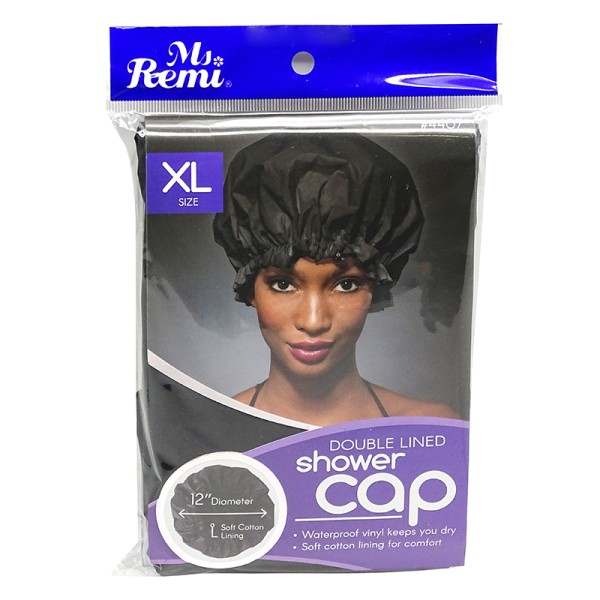 Ms.Remi Double Lined Shower Cap XL Size Black #4407