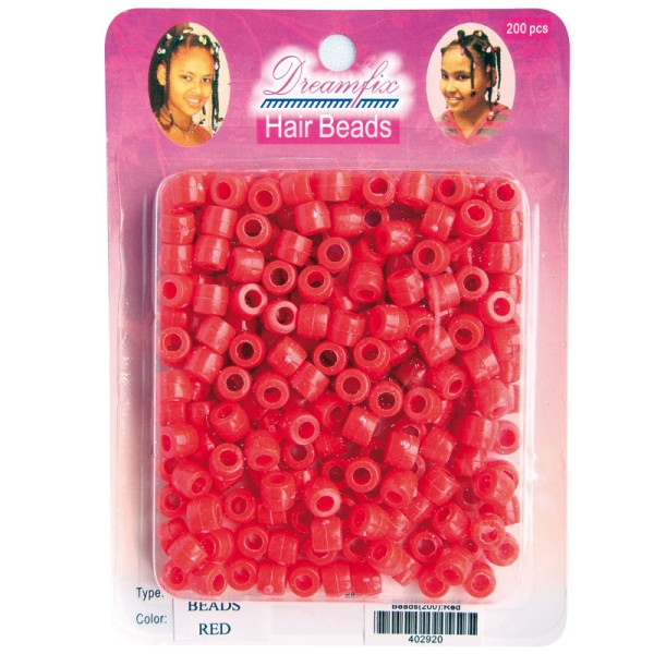 Dreamfix Hair Beads/Haarperlen, Red, 200er Pack