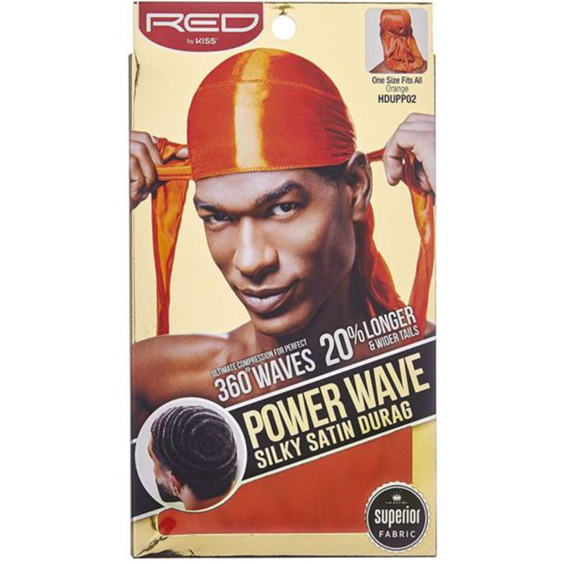 Red By Kiss Wave Cap Power Cap Silky Satin Durag Orange