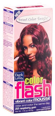 Dark & Lovely Color Flash Vibrant Color Mousse 22, Raspberry Yum, 49,8g
